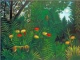 Posterlounge Leinwandbild 130 x 100 cm: Exotische Landschaft mit Tiger und Jägern von Henri Rousseau/akg-Images - fertiges Wandbild, Bild auf Keilrahmen, Fertigbild auf echter Leinwand, Leinwanddruck