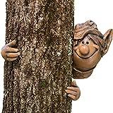 Juego de puntas y piezas-Escultura de Garden peeker Elf Tree Hugger Árbol de exteriores, diseño de Whimsical Jardín Decoración