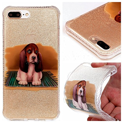 Coque iPhone 7 Plus Silicone, Sunroyal® Semi-Transparent Hybrid Etui Housse de Protection pour iPhone 7 Plus TPU Gel Souple Clair Crystal Case Cover avec Absorption de Choc Bumper et Anti-Scratch Bump Pattern 08