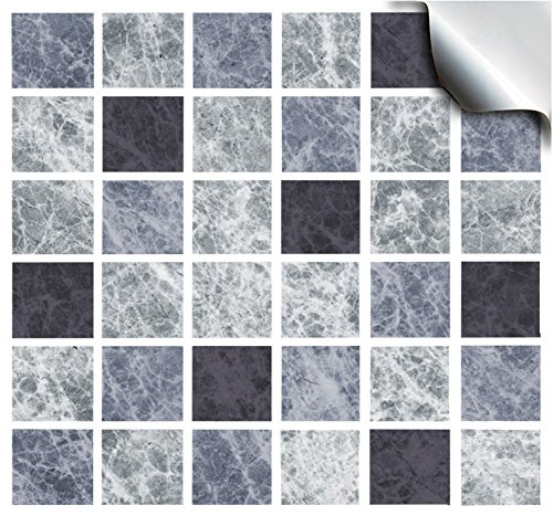 2 Slate Greys - Self Adhesive Mosaic Wall Tile Decals For 150mm (6 inch) Square Tiles –(TP1)- Very Realistic Looking Stick On Wall Tiles Transfers From Tile Style Decals -- Simply peel and stick on tiles to completely transform your kitchen, bathroom or w