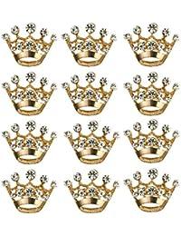BESTOYARD 12 pezzi corona spilla pin moda diamante festa nuziale spettacolo tiara corona corpetto per matrimonio forniture per San Valentino (oro)