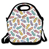 Ntpclsuits Lunch Tote Bag Funny Flip Flops Travel School Picnic Lunch Bag