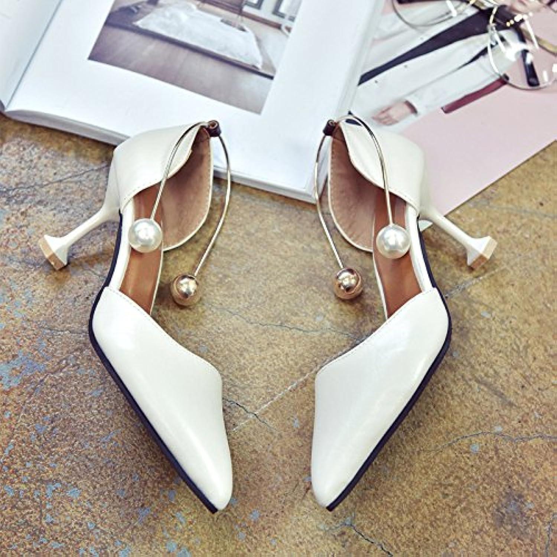 RUGAI-UE Sandalias de mujer, anillos de metal afilados de verano, bolsos finos de tacón y zapatos de mujer individuales... -