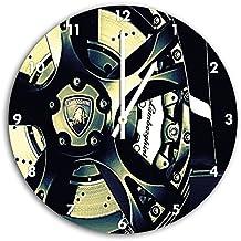 lamborghini dibujo de la rueda en el reloj de pared con blanco encabeza las manos y la cara, de 30 cm de diámetro, decoración perfecta para su hogar, idea regalo estupendo para jóvenes y mayores