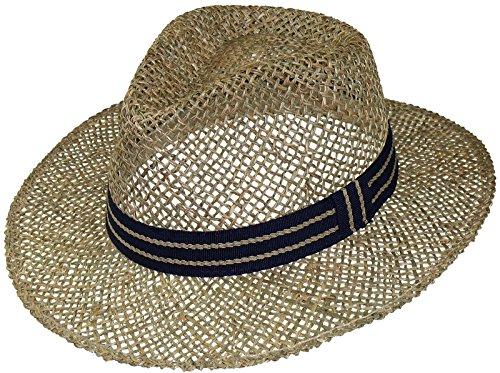 Harrys-Collection Strohhut aus Seegras mittlere Größe mit blauem Band, Farben:natur, Kopfgröße:55