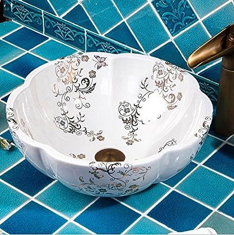 JinRou Handmade ceramic art Wash basin, high-end classical contemporary bathroom sink 41*15cm,?j
