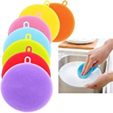 Italish Silicone Dish Washing Sponge Scrubber Kitchen Cleaning Antibacterial Tool -3pcs