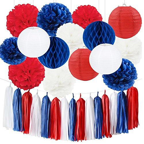 Furuix Rot Weiß Blau Nationale Dekorationen Quaste Garland Seidenpapier Pom Pom Papier Papier Laterne Waben Bälle Papier Dekoration für Nationalfeiertag Party Dekorationen