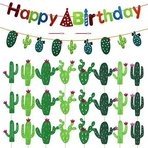 meetory 24Stück Kaktus Cupcake Topper, Dessert Kuchen Zahnstocher, Cupcake Dekoration mit Geburtstag Banner und Kaktus Banner für Hochzeit Beach Party Supplies