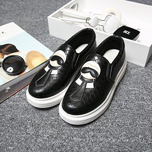 La Vogue 1 Paire Baskets Slip-On Basses Ville Mode Femme Fille Chaussures Classique Similicuir Vernis Noir