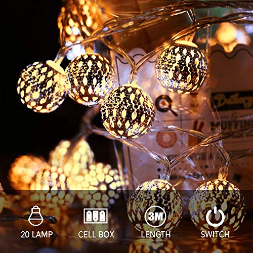 Zorara Marokkanische LED Lichterkette, LED Kugel Lichterkette, 3M 20 LED Warmweiß Batteriebetrieben Beleuchtung Dekoration für Party, Weihnachten, Halloween (Warmweiß)