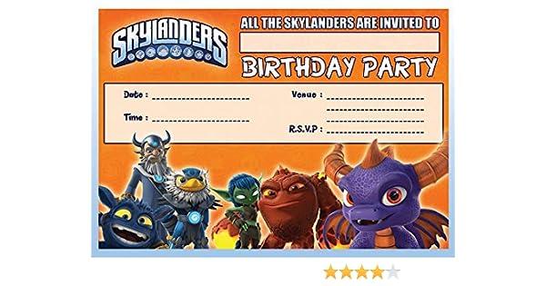 SKYLANDERS CHILDRENS BIRTHDAY PARTY INVITES INVITATIONS X 10 PACK Amazoncouk Toys Games