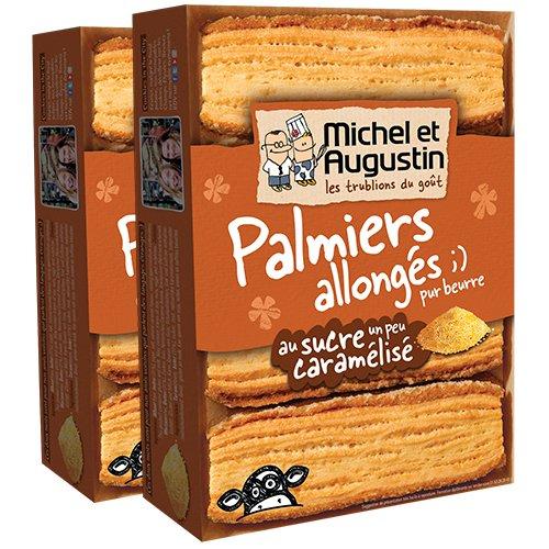 Michel et Augustin Biscuits Palmiers Allongés Sucre Caramélisé 120g - Lot de 2