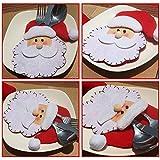 HENGSONG 4 Stücke Weihnachtsmann Weihnachten Deko Bestecktasche Besteckbeutel Besteckhalter für Weihnachten