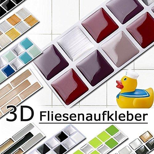 7er Set 25,3 x 3,7 cm Grandora Mosaik Fliesenaufkleber 3D-Effekt große Auswahl W5288 Wandaufkleber Küche Bad Fliesendekor Folie selbstklebend rot beige silber Design 2