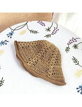 LVLIDAN Sombrero para el sol del verano Lady Anti-sol mano crochet gran lado ancho del sombrero de paja plegable...