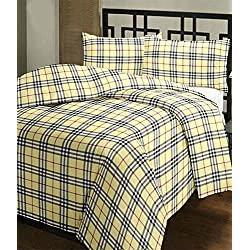 Frabjous Checkered Polycotton Single Bed Reversible AC Dohar/Blanket/Quilt (Yellow) Diwali Gift for Home