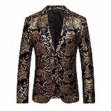 Herren Blazer Jacke, Huihong M-4XL Mode Herren Kleid Blumenklage Gekerbten Revers Slim Fit Mantel Stilvolle Blazer Mantel Jacke Business-Jacke FüR GeschäFt/Hochzeit/Party (Gold, XL)