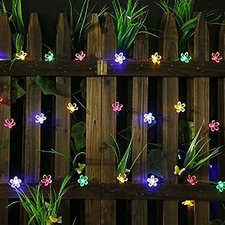 lilily _ store guirnalda Solar exterior–Solar Garden Lights con flores de 50luces LED para jardín decoración, Multi de color Festival, Christmas Party atmósfera Solar de Navidad Luz