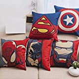 #6: AEROHAVEN™ Set of 5 Multi Colored Avengers Decorative Hand Made Cotton Cushion Covers 16