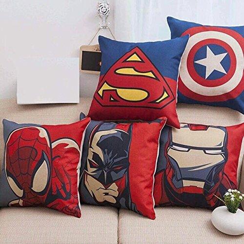 AEROHAVEN™ Set of 5 Multi Colored Avengers Decorative Hand Made Cotton Cushion...