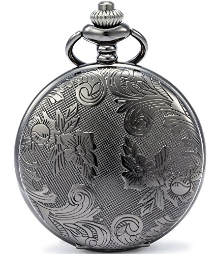 SEWOR Blumen Fall Shell Zifferblatt Japanisches Quarz-Uhrwerk Taschenuhr mit Fashion Double Kette (Metall & Leder) (Schwarz)
