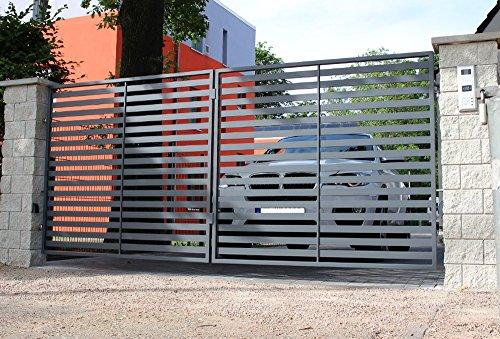 """Luxus4Home """"Berlin"""" 4,80m Doppelflügeltor Komplett-Set 2 Flügel mit 4m Durchfahrt inklusive 2 Natursteinpfosten mit 0,38m Breite"""