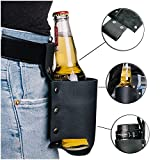 MOKEY Bierhalter Holster aus Leder | Universal Flaschenholster Gürtel / Tasche in schwarz | schnell griffbereit an der Hose