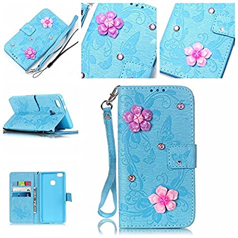 For Huawei P9 Lite Case [Blue],Cozy Hut [Wallet Case] Magnetic Flip Book Style Cover Case ,High Quality Classic New design Butterfly Flower Pattern Design [With Diamond] Premium PU Leather Folding Wallet Case With [Lanyard Strap] and [Credit Card Slots] Stand Function Folio Protective Holder Perfect Fit For Huawei P9 Lite -