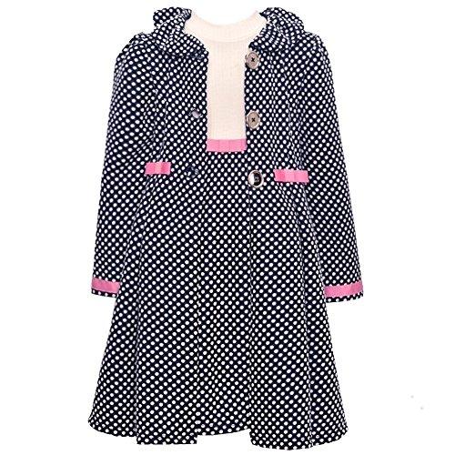Bonnie Jean Mädchen 2tlg. Set Kleid & Mantel, Kinder Outfit, W31360-CL, Navy (5 (Gr. 116))
