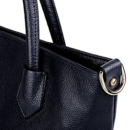 c0de4925727fe ... UTO Damen Schultertasche 2 Piece Shopper PU Leder Handtasche Purse  Tasche Set Royal blau Royal blau ...