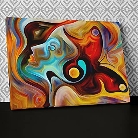 Female Face Abstract Canvas Wall Art, Framed Ready to Hang Picture Print AB567