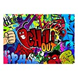 decomonkey Fototapete Graffiti 300x210 cm XL Tapete Fototapeten Vlies Tapeten Vliestapete Wandtapete moderne Wandbild Wand Schlafzimmer Wohnzimmer Street art Ziegelstein Jugendzimmer