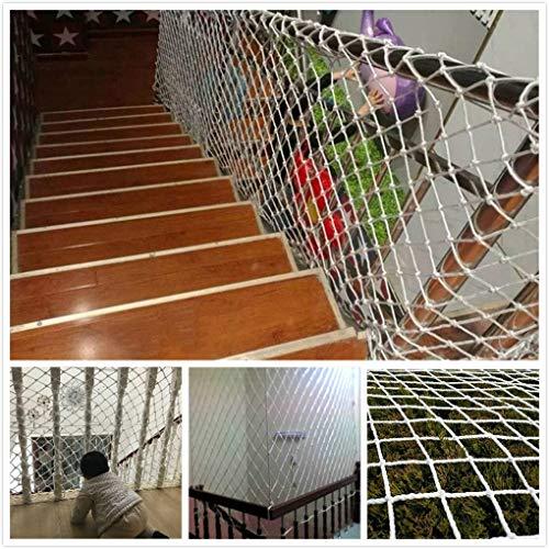 RSH Weiß Kindersicherheitsnetz,Schutznetz, Seilnetz Innere Klettern Draussen Dekorationsnetz Balkon Geländer Treppe Anti-Fall-Netz Fenster Hängende Brücke Garten Zaun Swing 1m 2x3m 4m