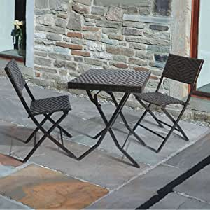 'Gina's' 3 Piece Folding Garden Bistro Chair & Table Set: Rattan Wicker Effect (60cm) - Square Patio Table & 2 Folding Chairs - All weather - Outdoor & Indoor Use