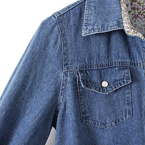 Femme Robe Casual Jeans Revers Manches Longues Denim Blouse Tunique Chemisier Bleu foncé
