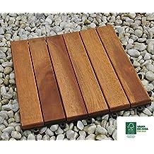 sam baldosas de madera en acacia para terraza o balcn versin set de