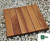 SAM® Baldosas de madera en acacia para terraza o balcón Versión 1, set de 33 piezas de aprox. 3m², baldosas de 6 tablones de madera, suelo con estructura de drenaje, certificación FSC® 100%.