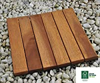 SAM® 6-slat acacia patio tile, set of 11 tiles for approx. 1 m², FSC® 100 % certified, garden tile, flooring with drainage substructure, interlocking click-tiles for garden or balcony, non-slippery
