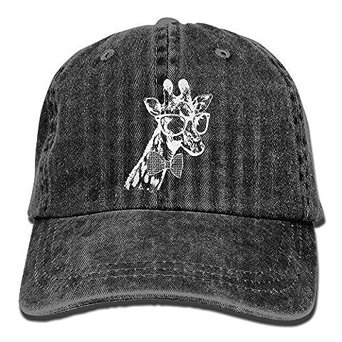 Giraffe Houndstooth Denim Hat Smooth Cotton Dad Hat Durable Plain Cap Baseball Hat For Unisex Black