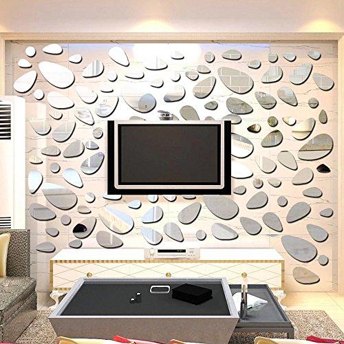 HuntGold Modern DIY 3D Spiegel Dekor Pflasterstein Abziehbar Wandaufkleber Wandsticker Haus Kunst Dekor