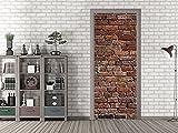 GRAZDesign 791678_92x213 Tür-Tapete Steinmauer Rot - Braun | Aufkleber Fürs Wohnzimmer | Tür - Klebefolie Selbstklebend (92x213cm//Cuttermesser)