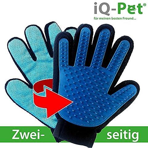 Fellpflege-Handschuh von iQ-Pet | 2 Seiten: Gummi- + Mikrofaserseite | Tierhaare kinderleicht entfernen | Hunde-Handschuh, Katzen-Handschuh, Haustier-Handschuh, Bürsten-Handschuh | Massage-handschuh, Hund, Katze, Bürste, Fell, Tier, Handschuh