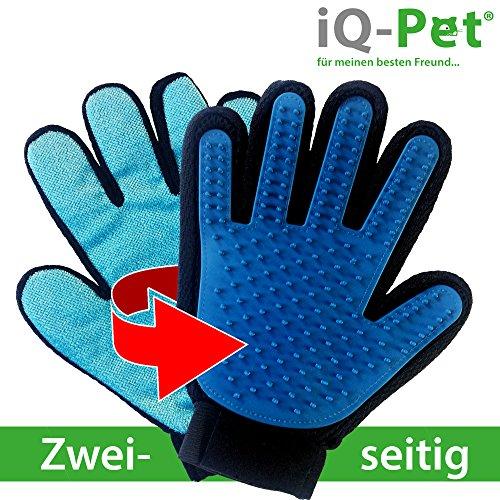 Fellpflege-Handschuh von iQ-Pet | 2 Seiten: Gummi- + Mikrofaserseite | Tierhaare kinderleicht entfernen | Hunde-Handschuh, Katzen-Handschuh, Haustier-Handschuh, Bürsten-Handschuh | Massage-handschuh, Hund, Katze, Bürste, Fell, Tier, Handschuh (Katze Handschuhe)