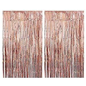 Tumao Rose Gold Metallic Tinsel Vorhänge, 2 Stück Folie Fringe Shimmer Vorhang,Geburtstag Dekorationen Party liefert Kit…
