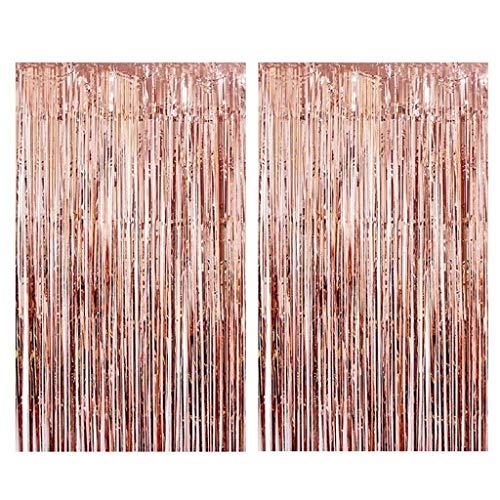 Tumao Rose Gold Metallic Tinsel Vorhänge, 2 Stück Folie Fringe Shimmer Vorhang,Geburtstag Dekorationen Party liefert Kit,Geburtstag Hochzeit Foto Booth Dekorationen. (Metallic Vorhang Gold Fringe)