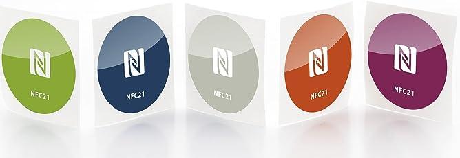 NFC21  68364  NFC Sticker NTAG 213 / 5 Stück / 5 Farben