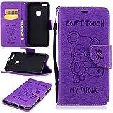 YAJIE Custodia Phone Per Huawei P10 Lite Case, [Cute Cartoon Bear Embossed Series] Custodia protettiva in pelle PU Flip Wallet con cordino/slot per schede/supporto (Colore : Purple)