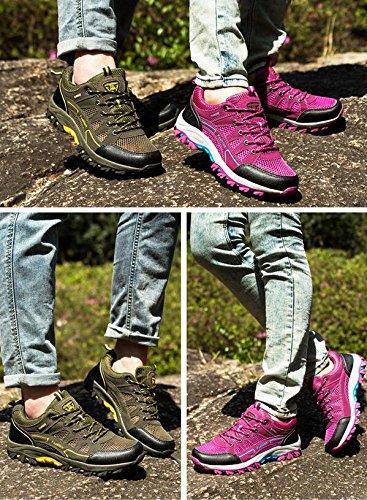 Mode Chaussures de sport en plein air été et automne baskets en tissu Mesh pour la randonnée le camping l'escalade respirant et antidérapant mei hong (female paragraph)