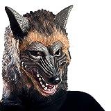 Carnival Toys Máscara de goma Eva lobo con pelaje con encabezado, color marrón (1072)
